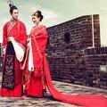 Estilo chino hanfu boda vestido rojo magnífico tren bordado de suzhou clothing traje traje de diseño de los amantes de china pareja real