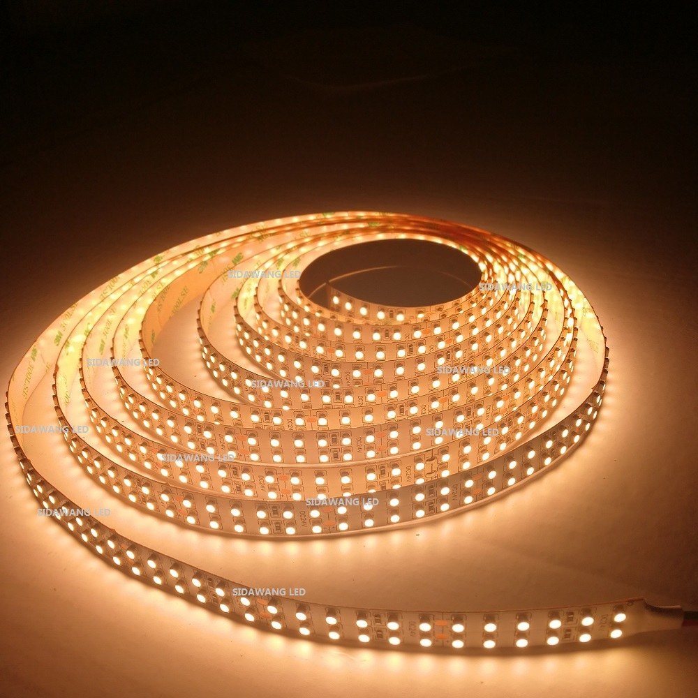 CRI 95 Ra SMD3528 Double Row LED Strip Lights Non Waterproof DC24V 15mm 1200leds reel for
