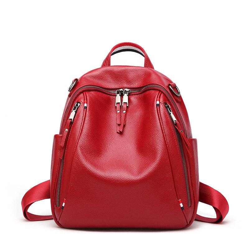 Lato nowy plecak brytyjski styl damska pierwsza warstwa ze skóry cielęcej podwójny zamek duża pojemność plecaki podróżne miękkie w Plecaki od Bagaże i torby na  Grupa 1