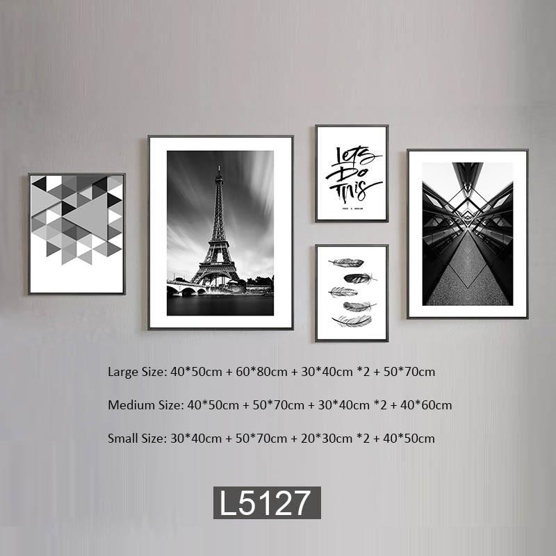 BLACK WHITE BUILDINGS STREET SCENE PHOTOGRAPHY ART PRINT Poster Vintage all size