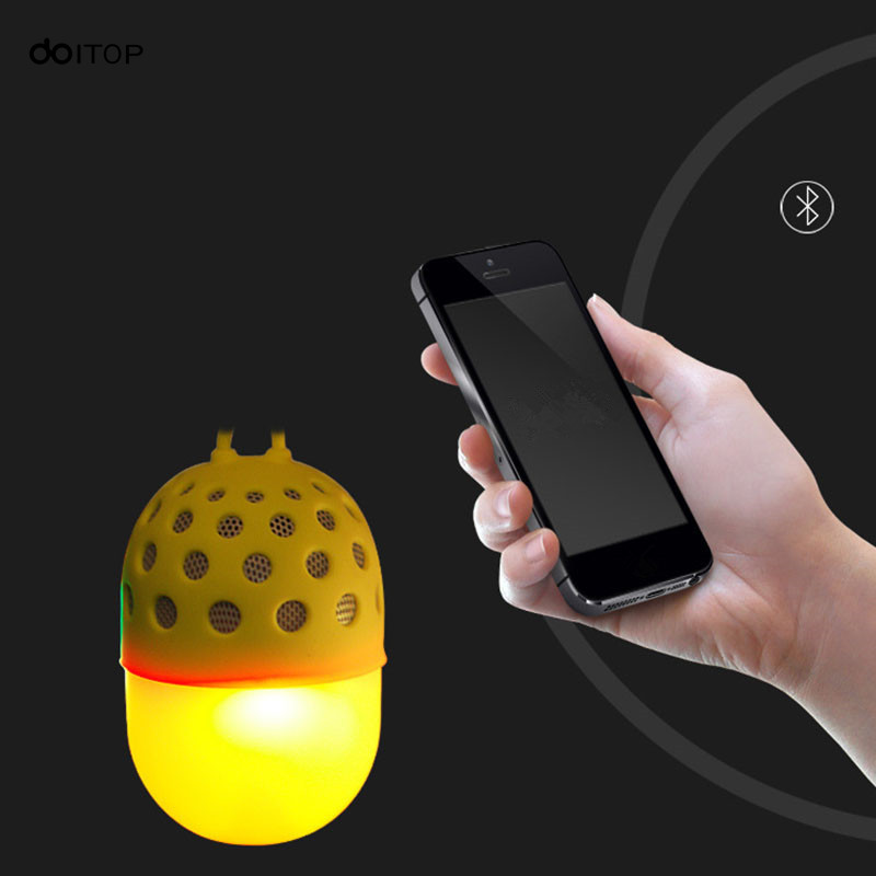 DOITOP Wireless Bluetooth Speaker Mini Cute Colorful LED Light Subwoofer Portable Outdoor Waterproof Loudspeaker Support TF Card