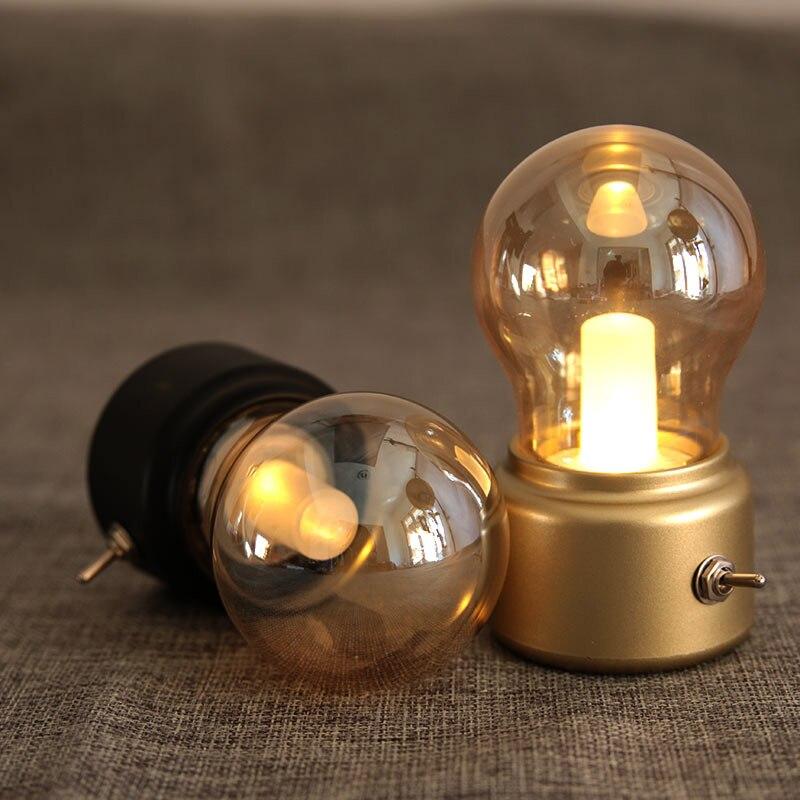 Led-nachtlicht-lampe USB Wiederaufladbare Vintage Schlafzimmer Nachttischlampe Dekoration Lichter -- M25