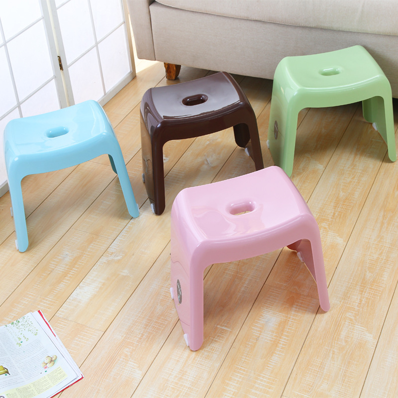 Plastic stools thickened, simple and stylish home high stool, adult small bench, Children Small Chair Sofa Round Bench xxxg short board stool for shoes for children and adults with small cloth wood chair sofa stool small wooden bench cloth art