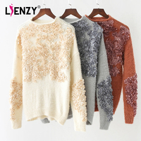 LIENZY 2018 Knitting O Neck Sequins Sweater Winter Women S Clothing Of Large Size Tunic Tops