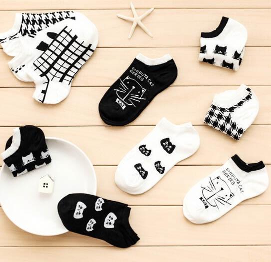 100% Cotton Summer Cat Thin Short Women's Socks Female Cotton Low Cut Ankle Socks Ladies Colorful Cute Socks Boat1pair=2pcs WS66