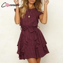 Conmoto Boho Ruffle Elegant Dress For Evening Short Casual Dress Bow Sleeveless Wine Red Women Party Dress Vestidos