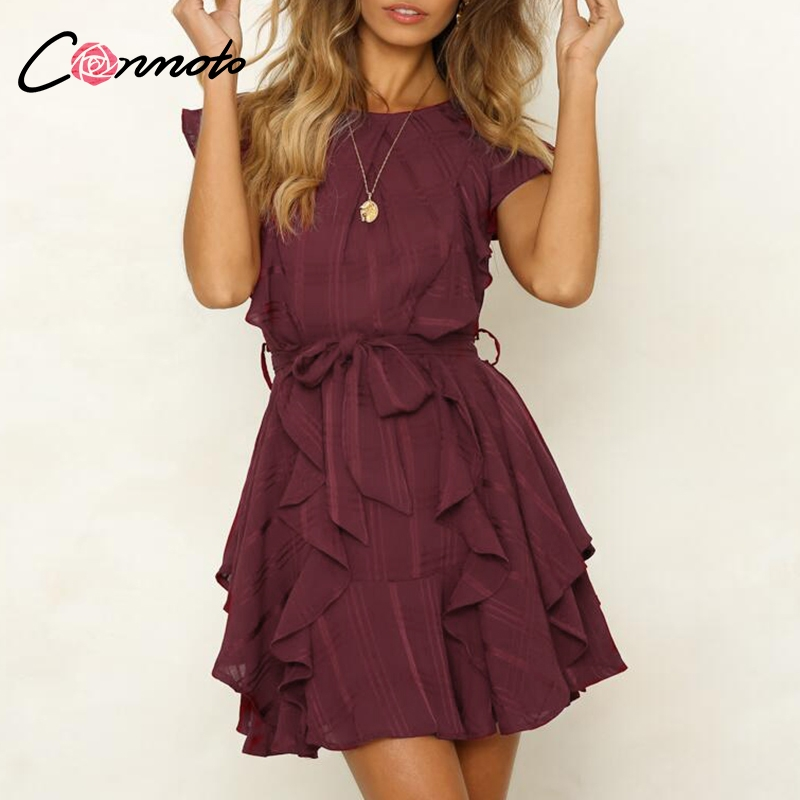 Conmoto Boho Ruffle Elegant Dress For Evening Short Casual Dress Bow Sleeveless Wine Red Women Party Dress Vestidos