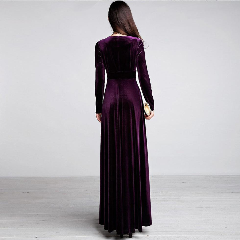 Spring Autumn Sexy Elegant Lady Velvet Warm Maxi Dress Women Long Kemeja Row Hitam Shop At Sleeve Deep V Ankle Length Dresses New In From Womens Clothing Accessories On