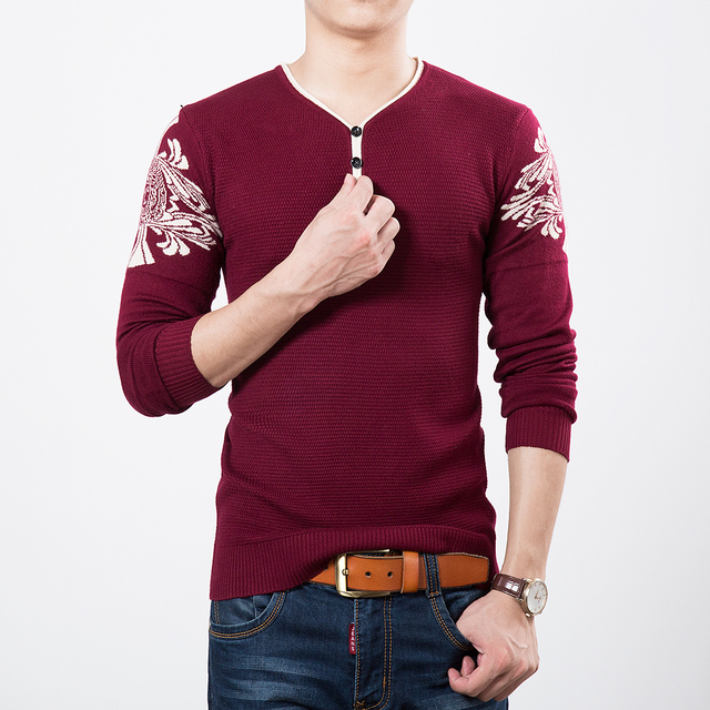 Autumn Spring Casual Men's Sweater V-Neck Striped Slim Fit Knittwear Pullovers Mens Sweaters Pullover Men Pull Homme M-3XL