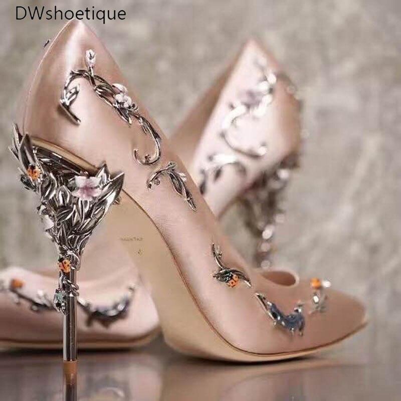 New Floral Heel Women Wedding Shoes Silk Spring Strange Heel Women Pumps