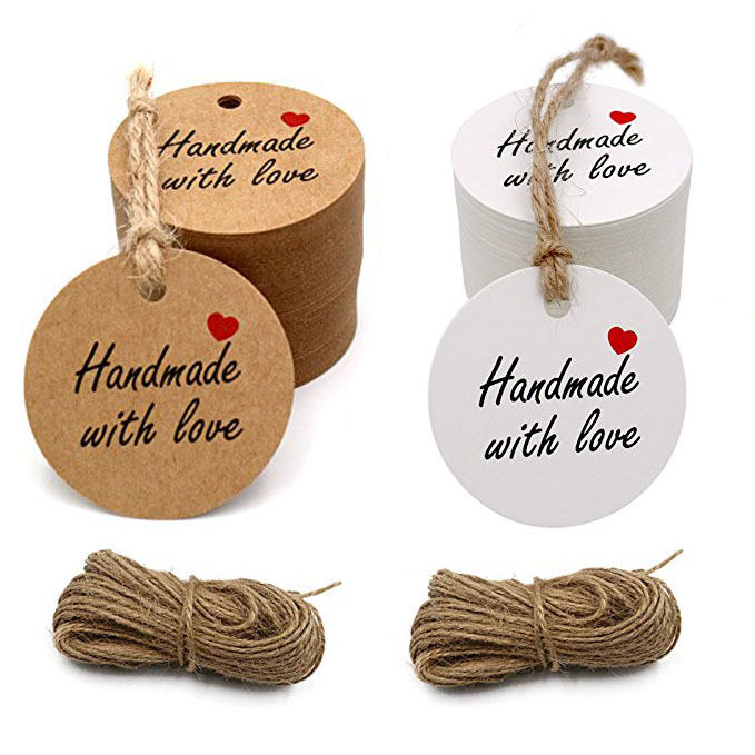 100pcs handmade with love tags with hole for wedding party decoration gift tags Packaging Hang round paper Tags stationery100pcs handmade with love tags with hole for wedding party decoration gift tags Packaging Hang round paper Tags stationery