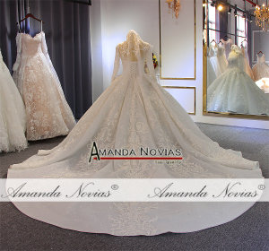 Image 2 - Luxury ball gown wedding dress long sleeves mariage 2020 with full beading
