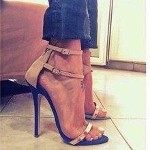 Năm 2020 Thời Trang Mùa Hè Nữ Cao 11.5 Cm Mỏng Gót Khóa Dây Giày Sandal Nữ Tôn Sùng Võ Sĩ Giác Đấu Giày Nữ Đế Valentine Máy Bơm