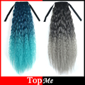 7 Colors Long Bouffan Women Ponytails  Hair Extensions Afro Kinky Curly Hair Hairpiece Drawstring Ponytail Ombre Lady Hairpieces