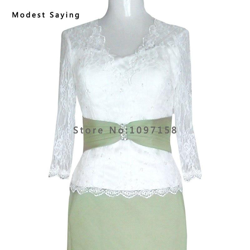 Zarif Fildişi ve Zeytin Yeşil Kılıf Boncuklu Dantel Uzun Kollu - Düğün Abiye - Fotoğraf 5