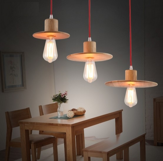 Simple Wood Art Droplight Edison Bulb Modern Pendant Light Fixtures Dining Room Hanging Lamp Home Lighting Lamparas Colgantes merry christmas waterproof shower curtain bathroom decoration