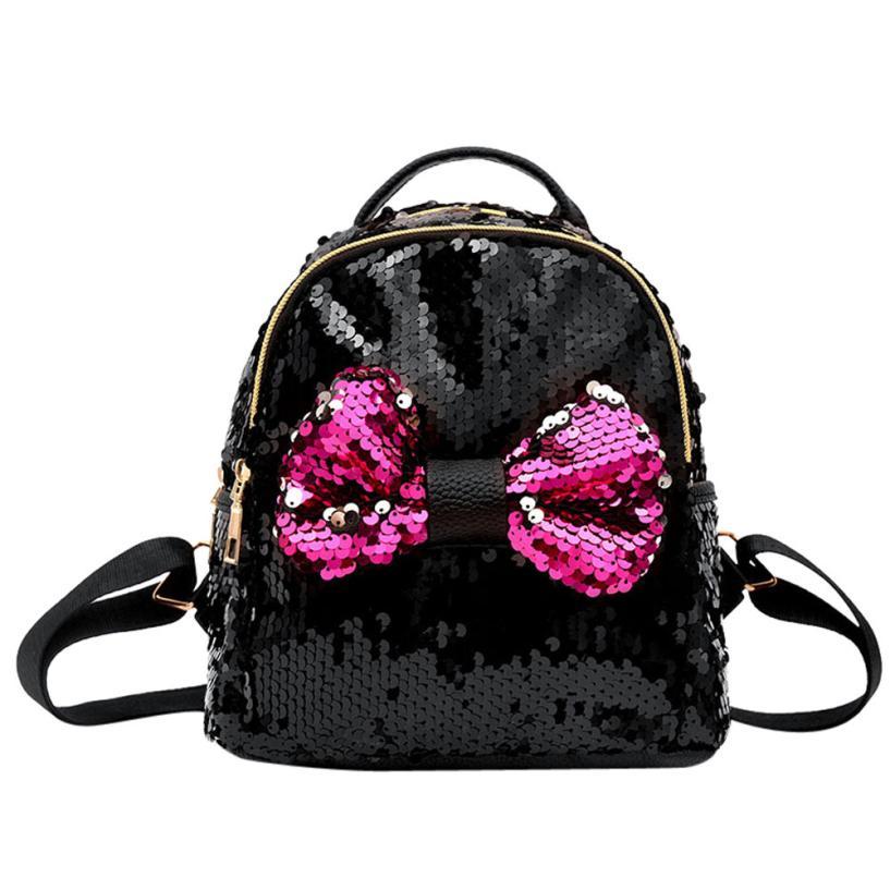 Women Sequins Backpack Girls Cute Bow Tie School Bag PU Leather Backpacks Designer Satchel Women Travel Shoulder Bag #Zer