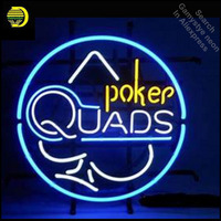 Poker Quads Neon Light Sign GLASS Tube Handcraft Beer Game Room Wall Light Signs lampara neon personalized Lamp neon light wall
