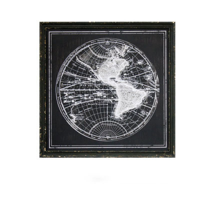 American retro black and white world geography decorative painting solid wood painting study coffee shop retro art decoration