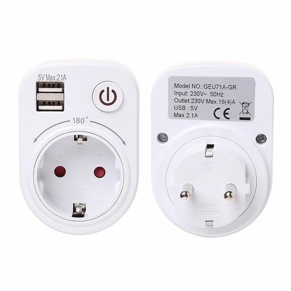 Adattatore di Corsa del Caricatore della parete di Corrente Elettrica Con Due Porte USB Interruttore di AlimentazioneAdattatore di Corsa del Caricatore della parete di Corrente Elettrica Con Due Porte USB Interruttore di Alimentazione