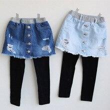 Детские рваные штаны джинсы для девочек г. Весна-осень, новая детская модная джинсовая юбка-брюки Одежда для маленьких девочек