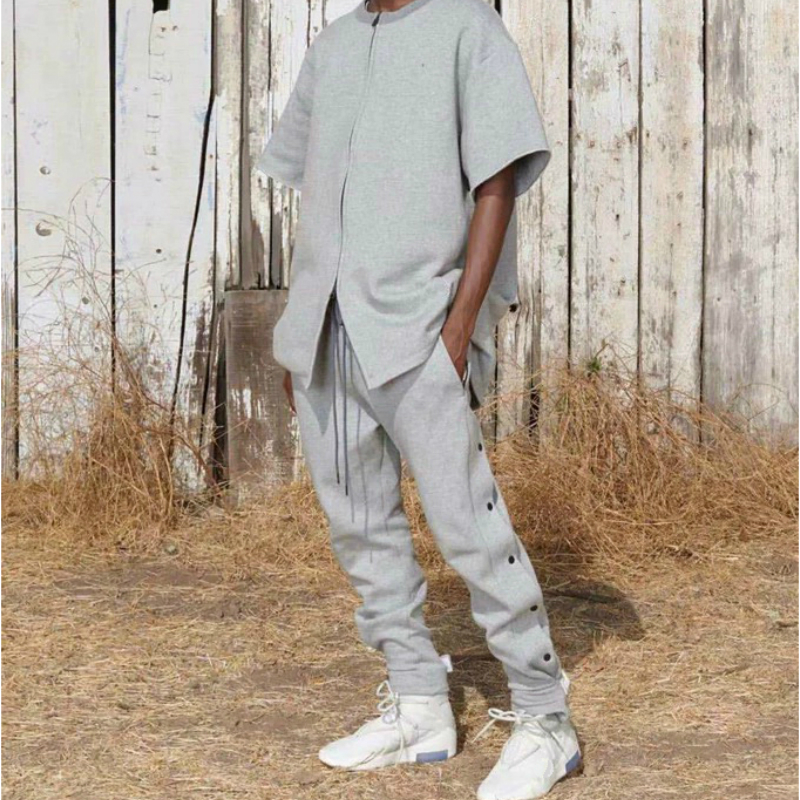 QoolXCWear Side Snap Sweatpants Hip Hop Kanye Long Cords Jogger Pants Loose Fit Terry Cotton Trousers