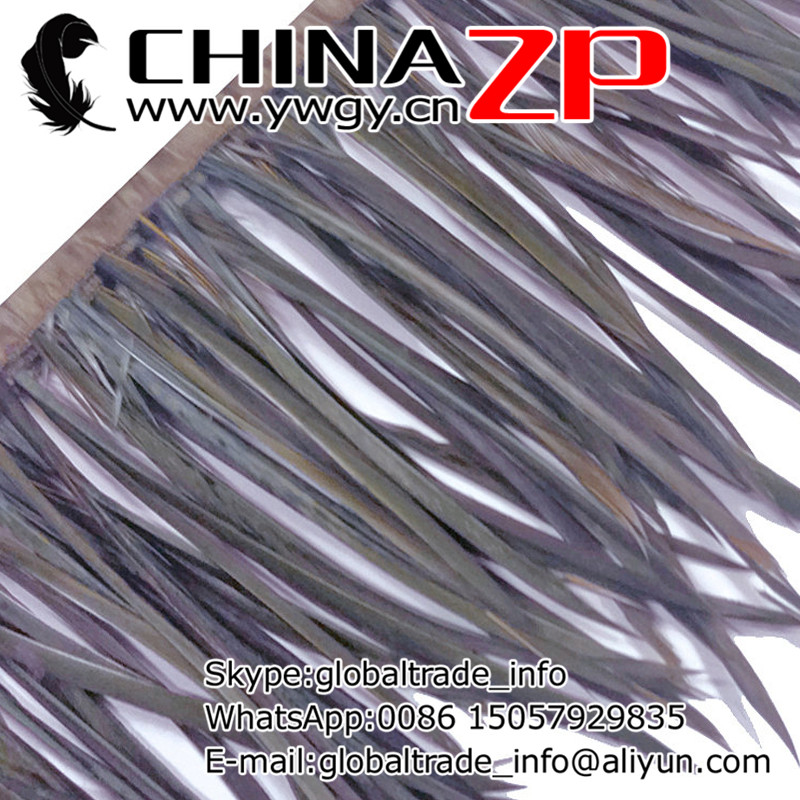 Gold Manufacturer CHINAZP Factory 10yards/lot Exporting Good Quality Dyed Grey Goose Biots Feather Fringe Trim