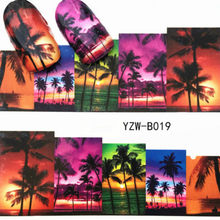 1Pcs Colorful Dusk Beach Stone Nail Sticker Butterfly Flower Water Transfer Decal Sliders for Nail Art Decoration Tatto 2018 Hot(China)