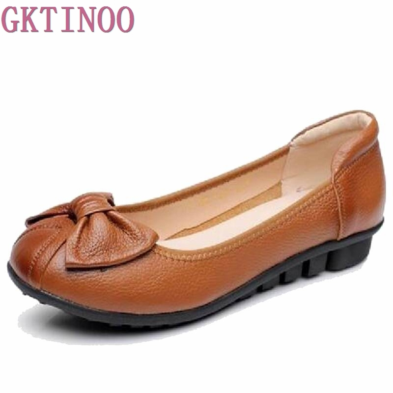 Plus Size(34-43)Loafers Comfortable Women Genuine Leather Flat Shoes Woman Casual Nurse Work Shoes Women Flats big size 40 43 genuine leather women flats new women loafers comfortable soft bottom mother work shoes