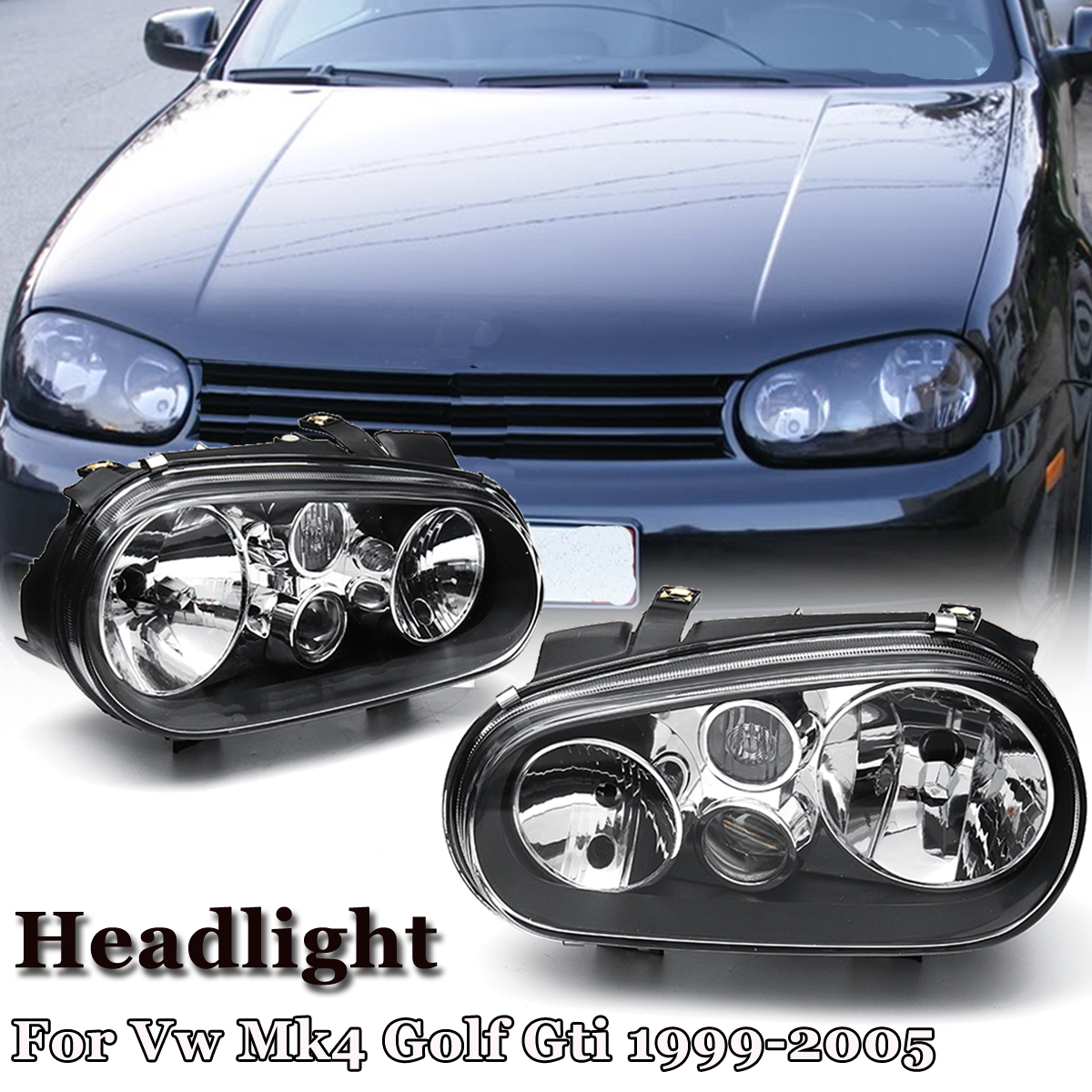 Pair Car Headlights Head Lamp for Volkswagen for Volkswagen for VW Mk4 Golf Gti 1999 2000 2001 2002 2003 2004 2005 Left + Right стоимость