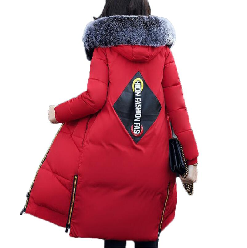 Winter Thicker Cotton Jacket Women Coat 2017 New Mid-Length Hooded Plus Size Loose Warm Parka Coat Ladies Red Pink Down Parkas цены онлайн