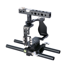Aluminium Alloy DSLR Camera Video Cage Kit Stabilizer+Top Handle Grip + Rod Rail  for Sony A6000 A6300 A6500 A6400