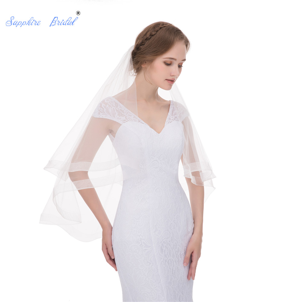 Sapphire Bridal Top Quality Two Tiers Veils  With Elastic Net Edge Elbow Length  With Metal Comb Hot Sale