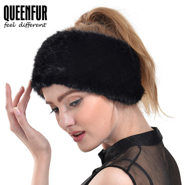 QUEENFUR 2016 New Women Real Knitted Mink Fur Headband Winter Warm Ear Protector Headwrap Female Fashion Solid Fur Scarf
