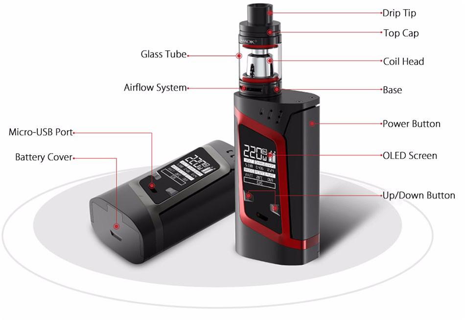 , Vape Electronic Cigarette SMOK Alien Vaporizer Box Mod E Cigarette Hookah VS Kit Buy Kit Get 1 Coil free S207