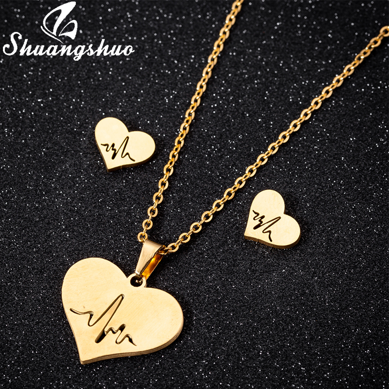 Shuangshuo Minimalist Exquisite Heart with Heartbeat Earrings Necklaces Women Mothers' day Birthday Gift Everyday Jewelry a Set(China)