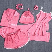 Nữ Lụa Pyjamas Bộ 7 Miếng Bộ Đồ Ngủ Nữ Thu Đông Lụa Đồ Ngủ Pijama Cổ Thoải Mái Nữ Mặc Nhà