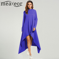 Meaneor Women Hooded Asymmetrical Hem Loose Long Maxi Tunic Dress