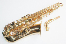 Hot sale Gold lacquer surface,Henri Selmer Paris Brass Alto Saxophone musical instrument with free bag,Eb tune,graven flower