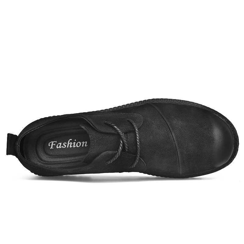 CLAX Männer Schuhe Aus Echtem Leder Frühling Herbst Casual Schuh Männlichen Leder Schuh Walking Schuhe Weiche Schwarz Mode