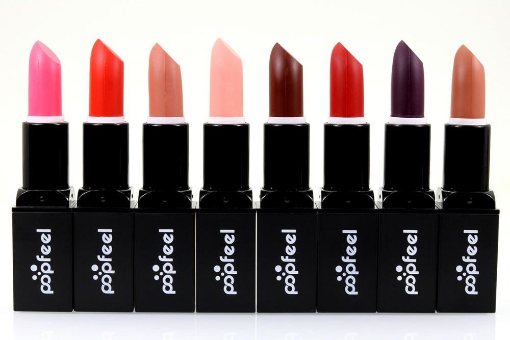 High Quality 8 Colors Brand Nude Lipsticks 3G Makeup Long-lasting Matte Lip Stick Purple Pink Red Vampire Party Batom #L209