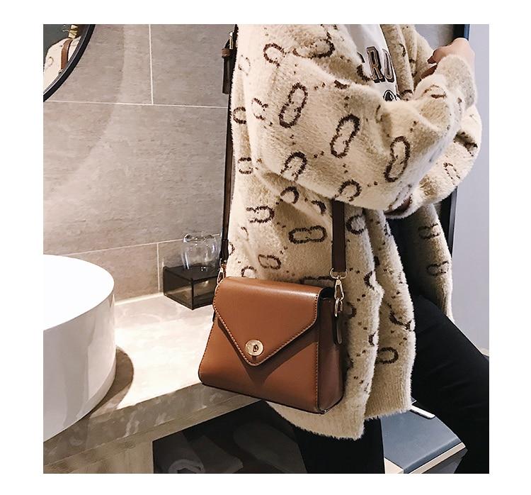 European Fashion Retro Ladies Square bag 2018 New High quality PU Leather Women's Designer Handbag Lock Shoulder Messenger Bags 17