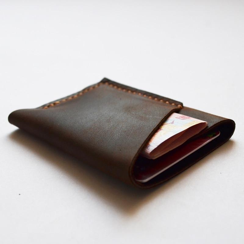 Handmade Leather Money <font><b>Clip</b></font> Wallet Crazy Horse Genuine Leather Men Money <font><b>Clips</b></font> Top Quality Men Designer money <font><b>clip</b></font> wallets