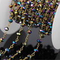 DIY 5Meter Colorful Rondelle Faceted Glass Beaded Rosary style Chain,Tone Wire Wrapped Brass Chain Necklace Jewelry Findings