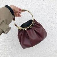 2018 New Metal Handle Women Leather Handbag Vintage Style Tote Bag Female Evening Party Purse Designer