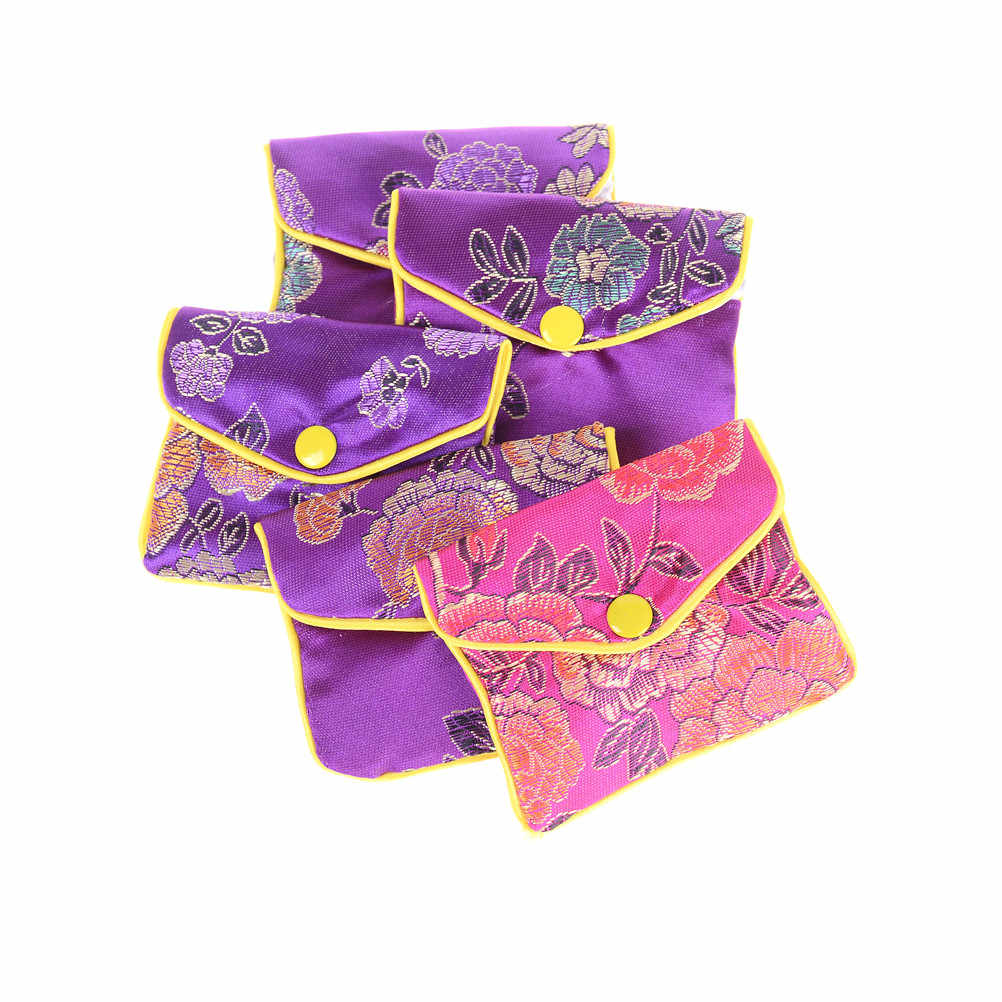 8x6cm 5 pçs/lote Sacos De Armazenamento De Jóias de Seda Tradição Chinesa Presentes de Jóias Organizador Da Bolsa Da Bolsa Saco de Cor Aleatória