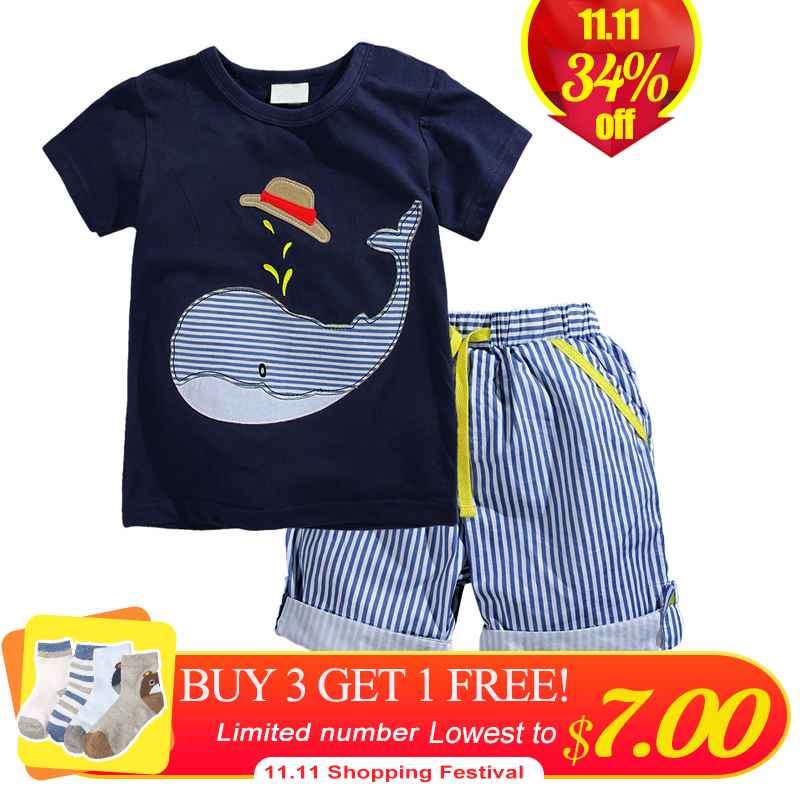 2018 New Summer Kids Clothes Children Clothing Baby Boy Clothes Set Toddler Baby Boys Clothing Cotton Shorts Boys Summer Set aile rabbit summer 2016 new baby boy pattern rabbit toddler plaid kids clothes children clothing set