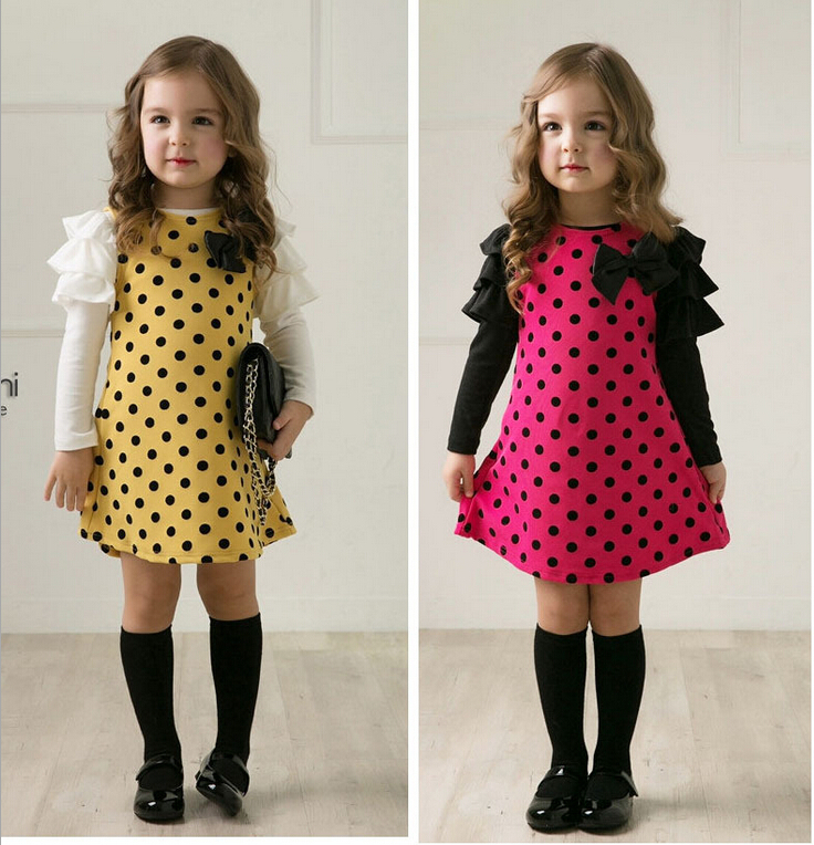 New 2016 autumn /spring children clothing girls polka dot dress long-sleeve kids girls princess dress polka dot slit hem contrast dress