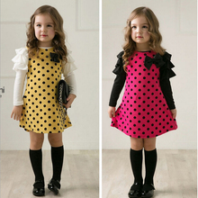 autumn spring children clothing girls polka dot dress Toddler Casual long-sleeve