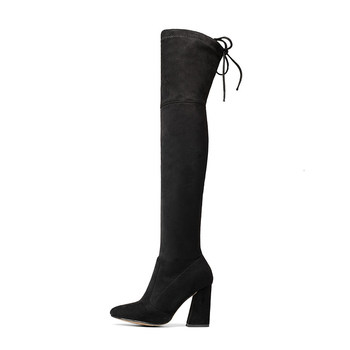 QUTAA 2018 New Flock Leather Women Over The Knee Boots Lace Up Sexy High Heels Autumn Woman Shoes Winter Women Boots Size 34-43 2